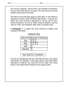 Math - Pictograph, bar graph, table - Tutorial and Practice