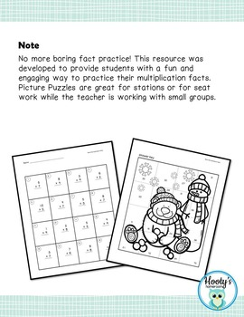 Math Picture Puzzle - Multiplication Facts