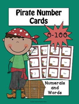 Math Pirate Number Cards 0-100