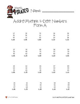 Math Pirates!: A Timed Math Fact Program -2nd Grade COMMON CORE ALIGNED!
