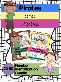 Math Pirates and Pixies Number Identification Bundle for 20-50 K-2