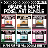 Math Pixel Art Bundle for Grade 5 | Seasonal and Holiday A