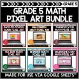Math Pixel Art Bundle for Grade 5   Seasonal and Holiday A