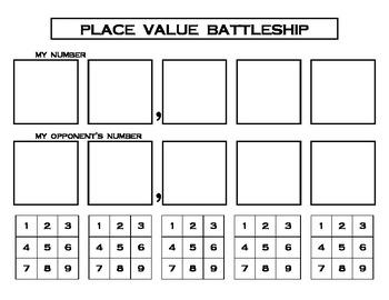 Math - Place Value Battleship Game