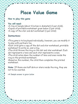 Math Place Value Game with printable worksheets