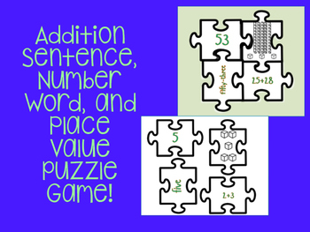 Math Place Value, Number Word, and Addition Sentence Puzzle Game!