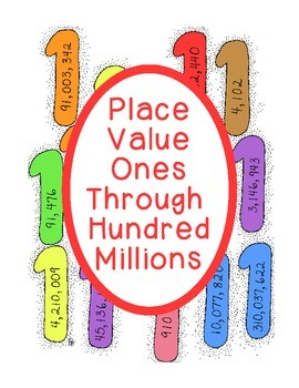 Math Place Value Practice Ones Through Hundred Millions PD