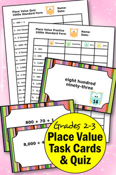 50 Place Value Task Cards to the Thousands Expanded Form, Place Value Games