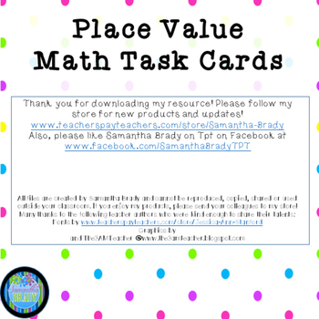 Math Place Value Task Cards