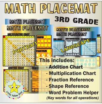 Math Placemat - Third Grade (Multiplication & Addition Chart, Fraction, Shape)