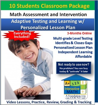 """""""A+"""" Math Placement Test-Adaptive Learning w/ Personalized Lessons (10 Students)"""