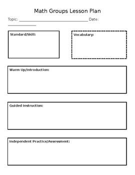 Math Planning Sheet