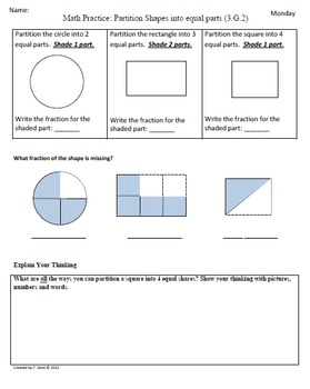 Math Plans & Sheets(3.G.2)Partition Shapes 3rd Grade Commo