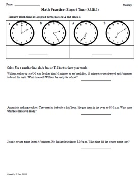 Math Plans & Sheets(3.MD.1) Elapsed Time part2 3rd Grade Common Core 4th 9 Weeks