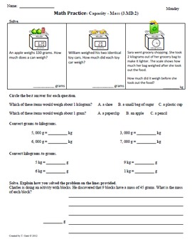 Math Plans & Sheets(3.MD.2)Measurement:Mass 3rd Grade Common Core 4th9Weeks