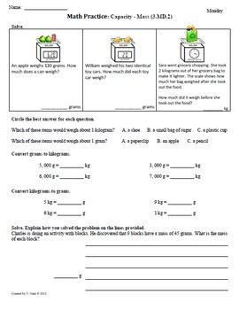 Math Plans & Sheets(3.MD.2)Measurement:Mass 3rd Grade Comm