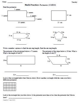 Math Plans & Sheets(3.MD.8) Perimeter  3rd Grade Common Co