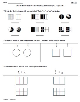 Math Plans & Sheets(3.NF.3) Fractions Part1: 3rd Grade Common Core 3rd 9 Weeks