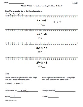 Math Plans & Sheets(3.OA.6)Division-3rd Grade Common Core 2nd 9 Weeks