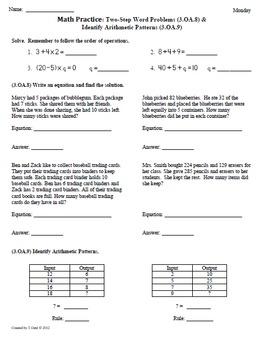 Math Plans & Sheets(3.OA.8& 3.OA.9)3rd Grade Common Core 2nd 9 Weeks