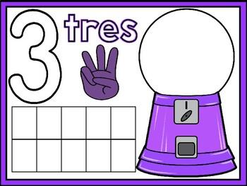Math Playdough Number Mats in Spanish