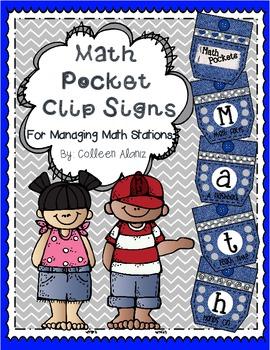 Math Pocket Station Signs