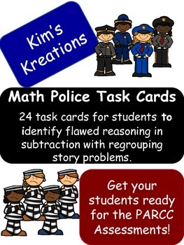 Math Police Task Cards; error analysis in subtraction with regrouping