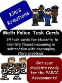 Math Police Task Cards; error analysis in subtraction with
