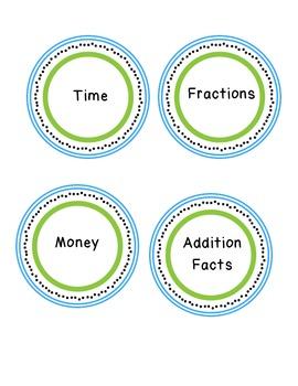 Math Polka Dot Labels