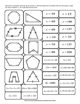 Math: Polygon Angle Problems Cut-out Activity