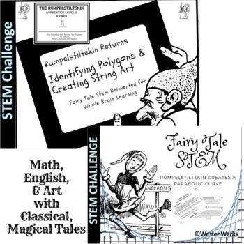 Math Polygons and Parabolic Curves, String Art with Fairy Tale Stem