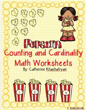 Math Popcorn Counting and Cardinality Worksheets