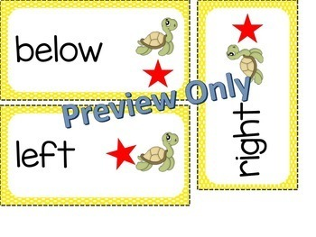 Math Position Words Vocabulary Word Wall Cards