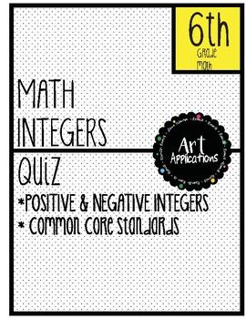 Math Positive/Negative Integer Quiz
