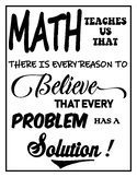 Math Poster - Every Problem has a Solution (8.5x11) Letter Sized