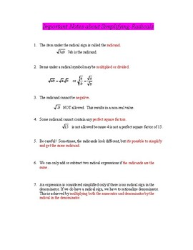 Math Poster: Important Notes about Simplifying Radicals