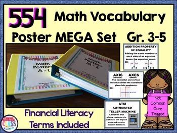 Math Word Wall Grades 3, 4 & 5 (554 words + Financial Lit)  Growing Set