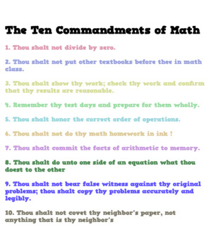 Math Poster: The Ten Commandments of Math
