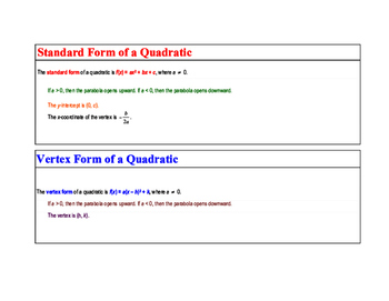 Math Poster: The Standard Form of a Quadratic & The Vertex Form of a Quadratic