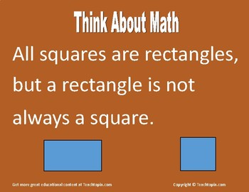 """Math Poster   """"Think About Math Series""""   Poster about Squares and Rectangles"""
