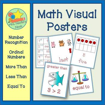 Math Posters - Quantity, Number Recognition and Ordinal Numbers