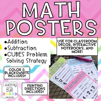 Math Posters - Addition, Subtraction, CUBES Strategy!