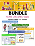 Math Posters BUNDLE (Grades 1-5) with Learning Goals & Sca