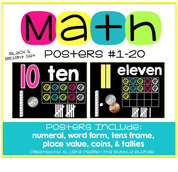 Math Posters {Black and Bright Set}