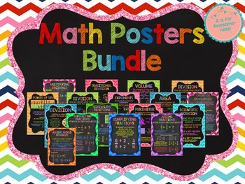 Math Posters Bundle (All of my Chalkboard Style Math Posters)