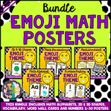 Math Posters Bundle Alphabets, Numbers, Vocabulary, Shapes (Emoji Math Wall)