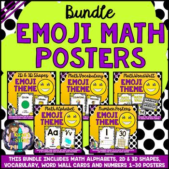 Math Posters Bundle Alphabets, Numbers, Vocabulary, Shapes (Emoji Math Wall)