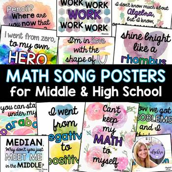 Middle School and Algebra I Math Posters Inspired by Song Lyrics