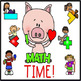 Math Posters Name Plates and Word Wall Cards with Pig Theme