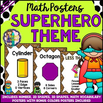 Math Posters (Number, Vocabulary, 2D & 3D Shapes, Colors) Superhero Theme
